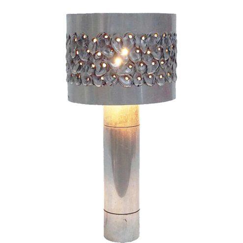 Aluclair 1970s brutalist burned aluminium table lamp metal tube round lampshade 1960s 1970 Willy Luyckx Belgium