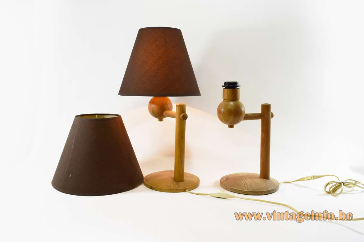 Aneta pinewood table lamps round base rods globe conical fabric lampshade E27 socket 1970s 1980s Aneta Belysning Sweden MCM
