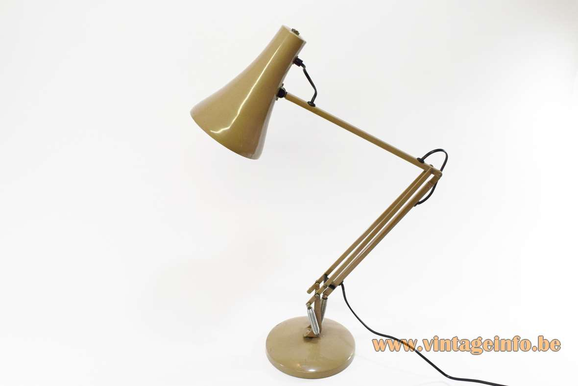 Anglepoise Model 90 Task Light conical lampshade architect lamp balancing round base 1960s 1970s MCM