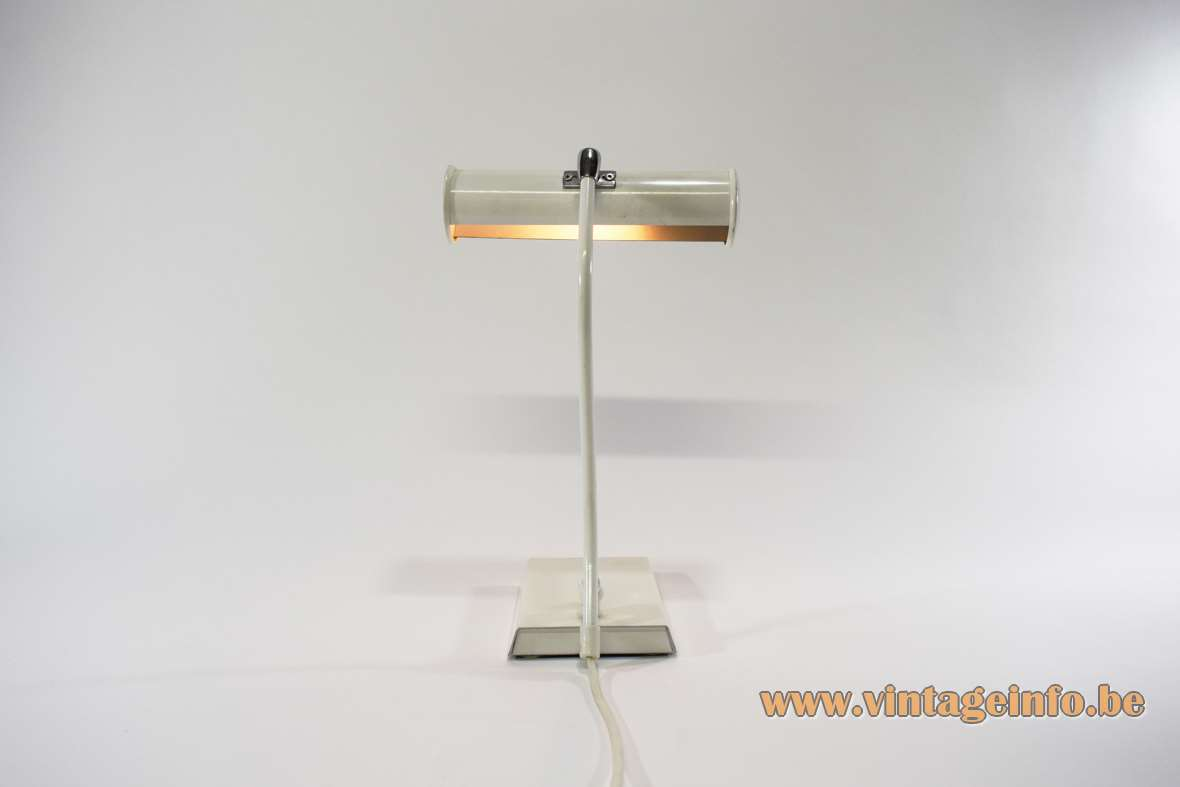 White 1980s ANVIA desk lamp white piano light rectangular base curved rod round tubular lampshade