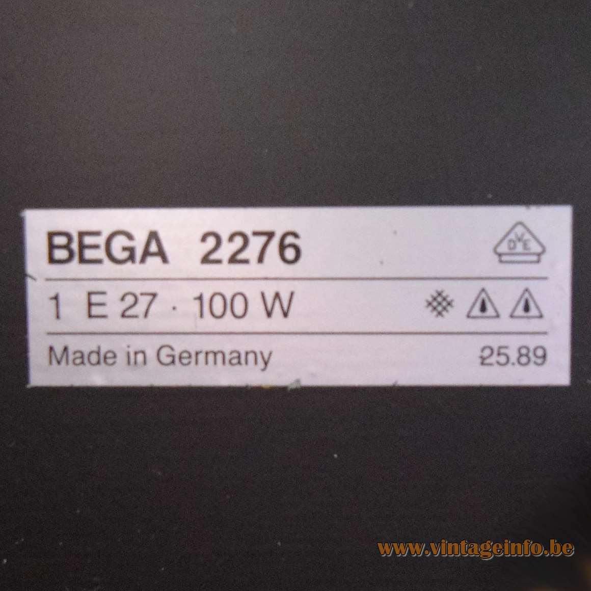 BEGA 1980s Outdoor Wall Lamp 2276 - Label