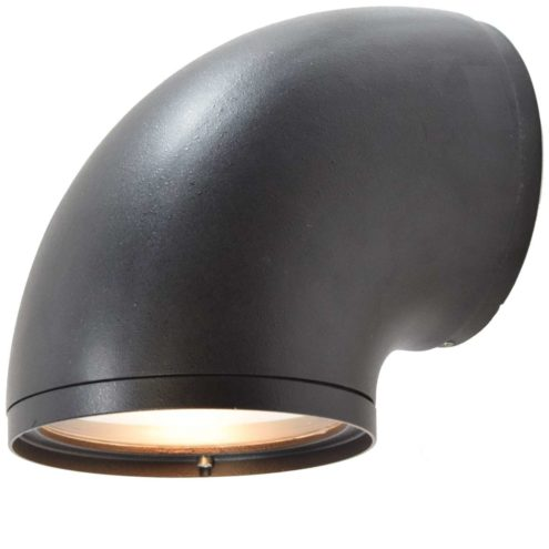 BEGA 1980s outdoor wall lamp 2276 curved garden light black anthracite aluminium wrinkle paint E27 socket