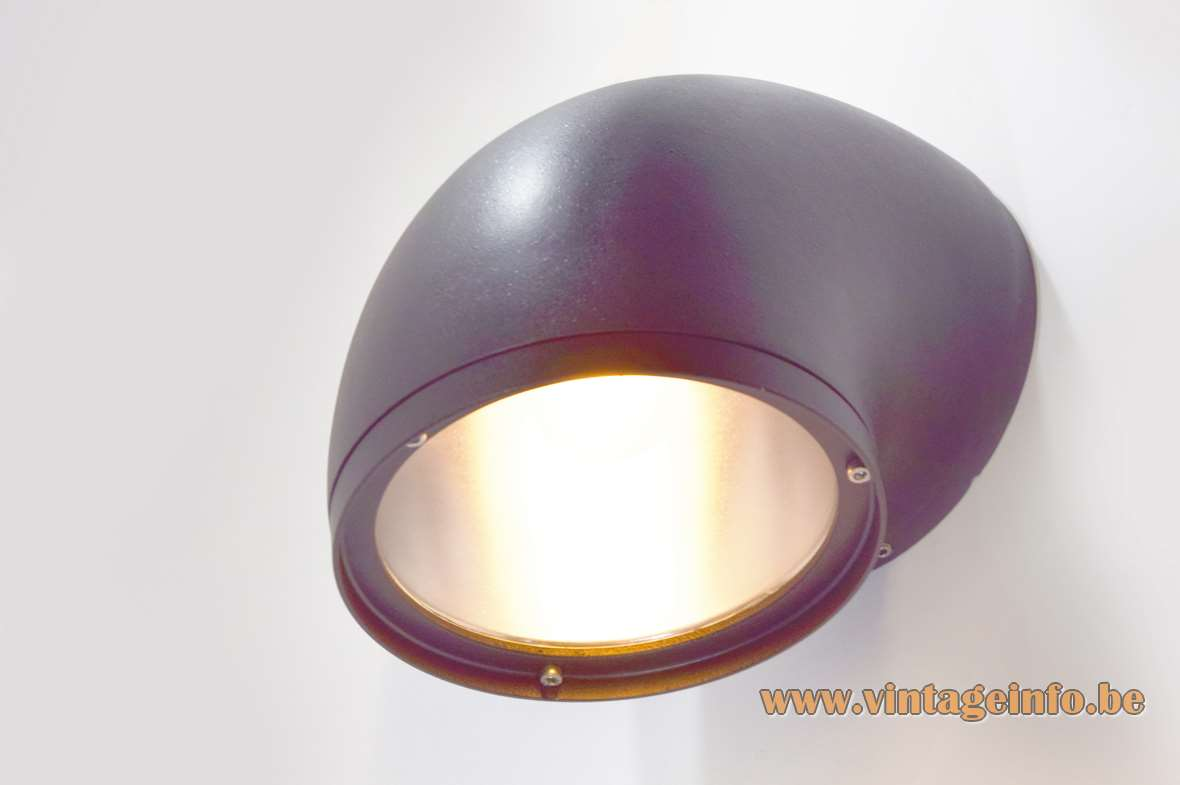 BEGA 1980s outdoor wall lamp 2276 curved garden light black anthracite aluminium wrinkle paint E27 socket