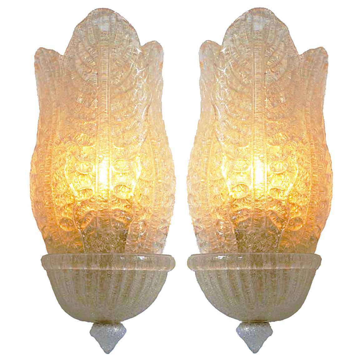 Barovier & Toso Gold Flakes Wall Lamps