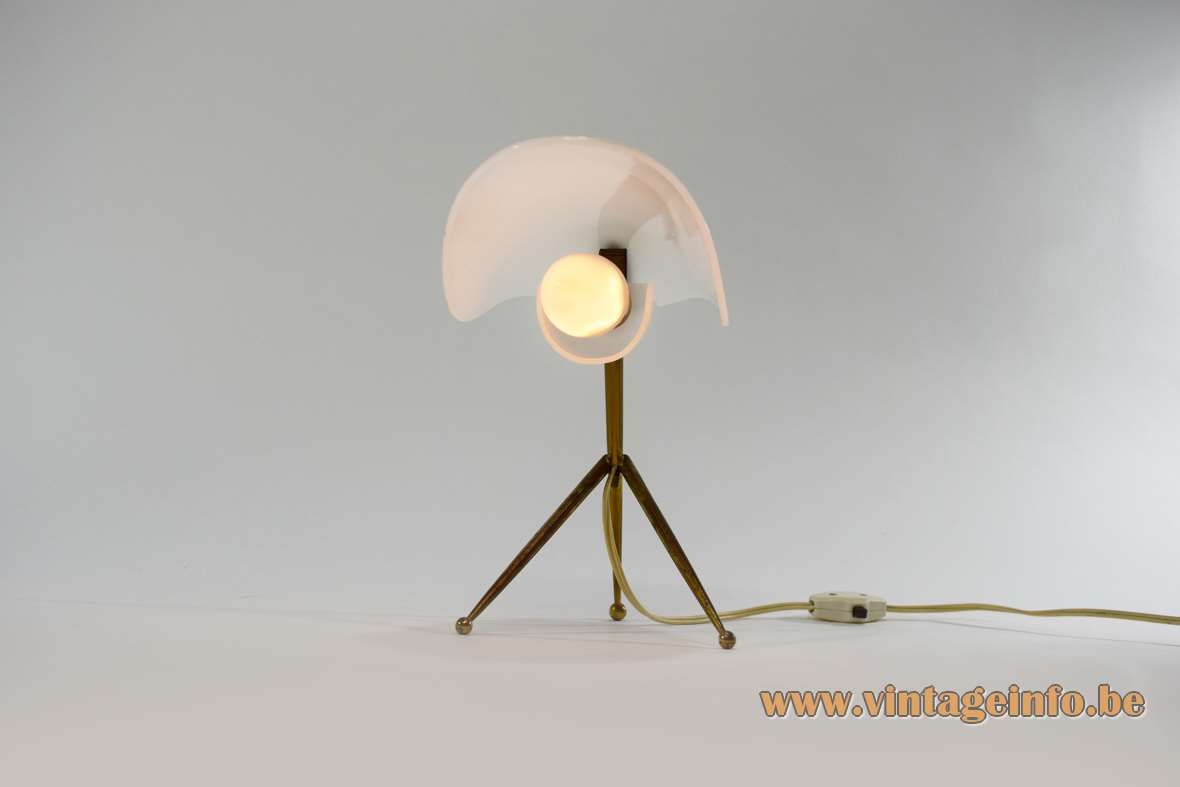 Brass & white acrylic tripod desk lamp conical rods and 2 acrylic parts 1950s 1960s MCM