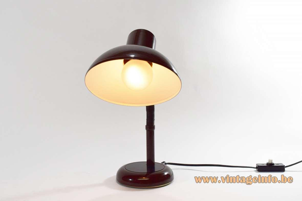 Brown 1970s desk lamp black gooseneck round base and lampshade GDR East Germany Massive Belgium MCM