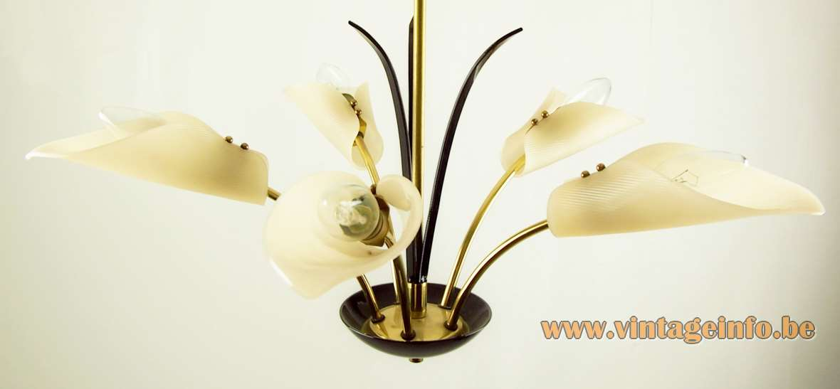Calla flowers chandelier brass curved rods black leaves white acrylic lampshades 1950s 1960s E14 sockets