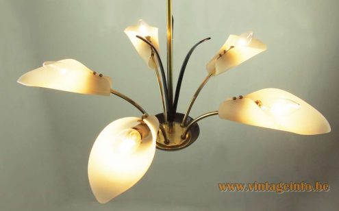 Calla flowers chandelier brass curved rods black leaves white acrylic lampshades 1950s 1960s MCM Mid-Century Modern