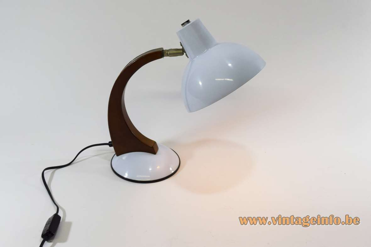 Fase style 1980s desk lamp white round base curved wood rod round lampshade Massive Netherlands 1970s