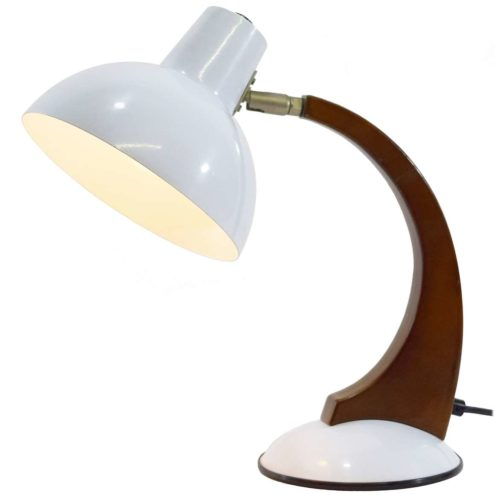 Fase style 1980s desk lamp white round base curved wood rod round lampshade Massive Netherlands 1970s