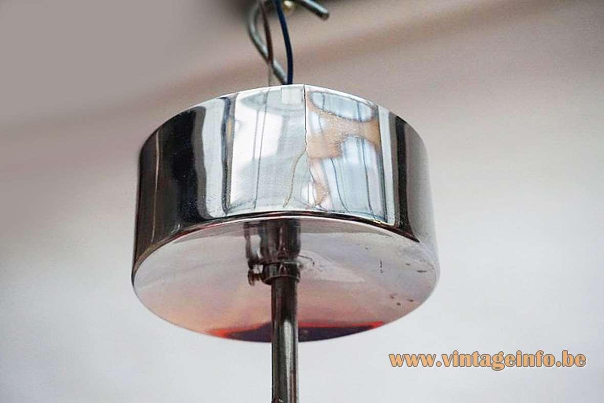 Gaetano Sciolari Cubic chandelier chrome square beams plastic diffusers 1970s 1980s Mid-Century Modern MCM