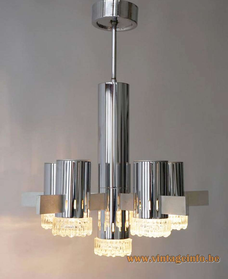 Gaetano Sciolari Geometric Chrome Chandelier