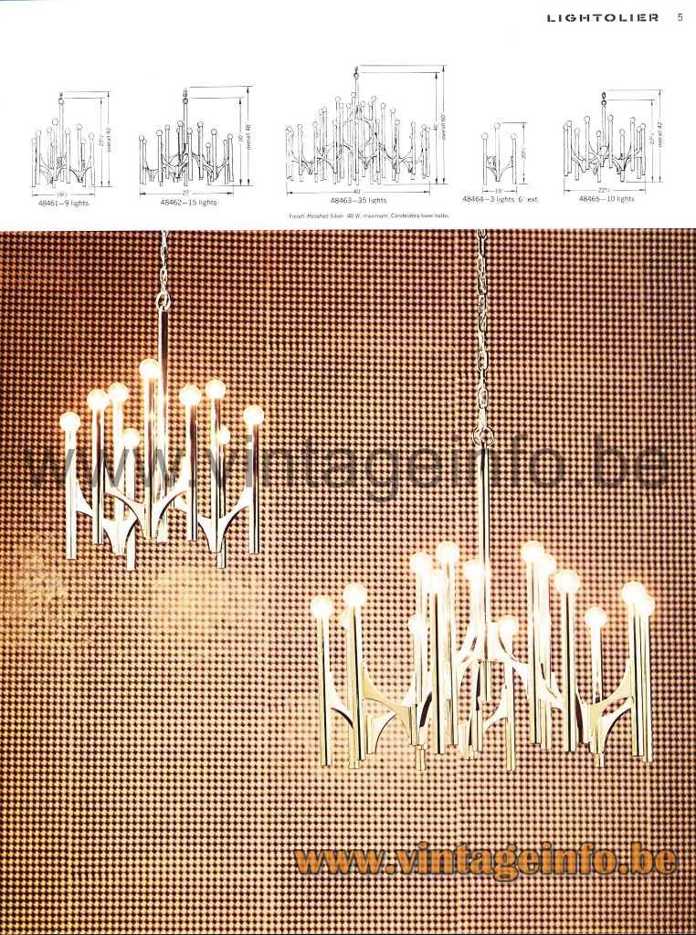 Gaetano Sciolari Orbit chandelier 1969 Lightolier catalogue design: AngeloGaetano Sciolari Italy