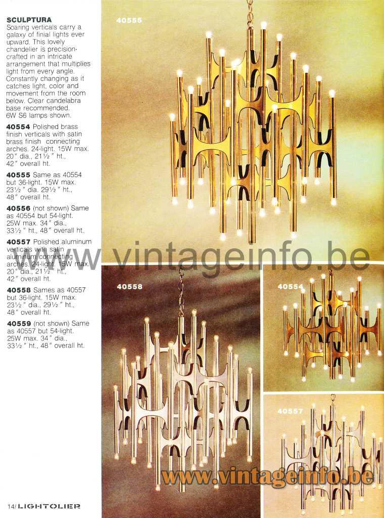 Gaetano Sciolari Sculptura Scultura chandeliers 1981 Lightolier catalogue design: AngeloGaetano Sciolari Italy