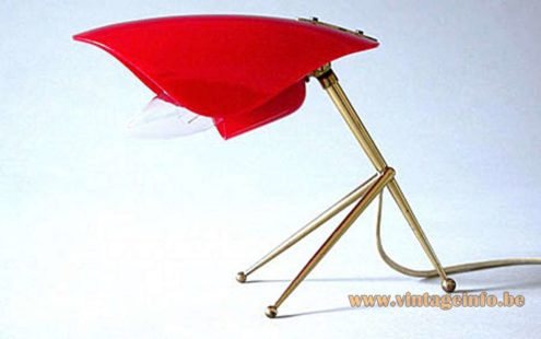 Brass & red acrylic tripod desk lamp conical rods and 2 acrylic parts 1950s 1960s MCM
