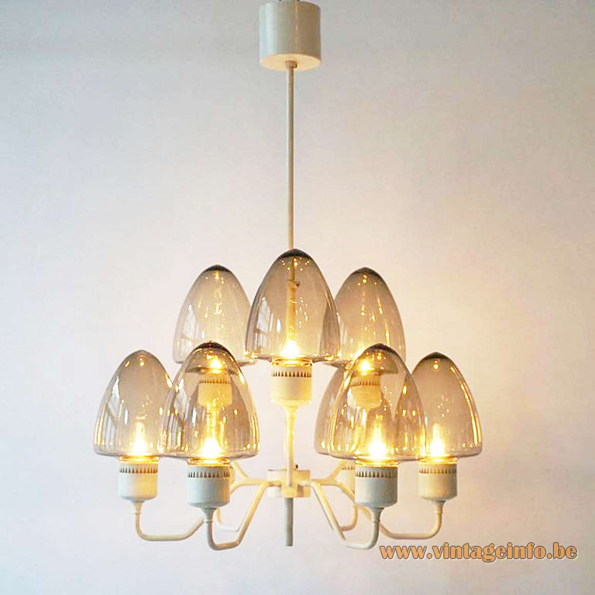 Hans-Agne Jakobsson white chandelier brass 9 smoked conical glass lampshades 9 E14 sockets