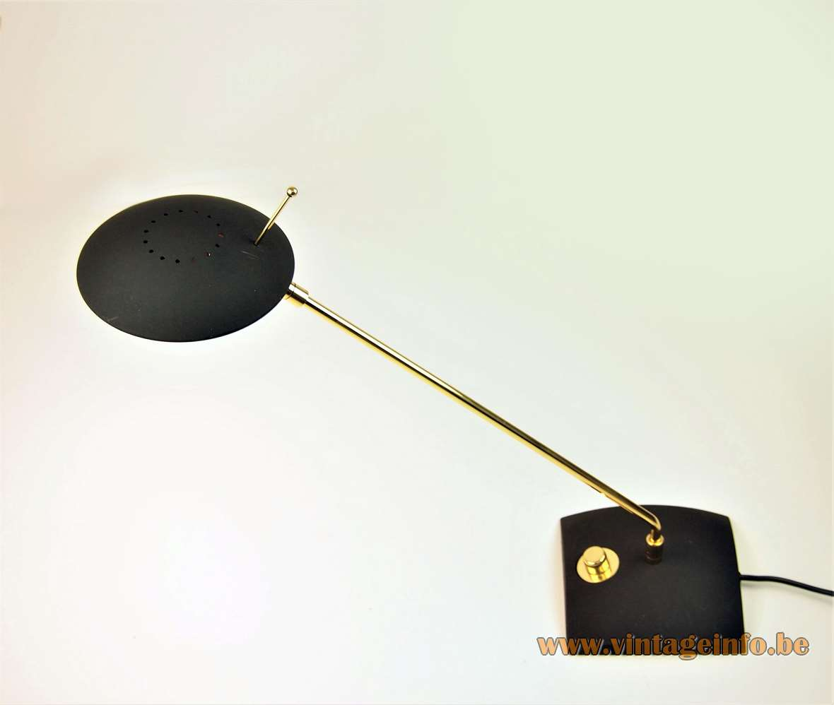 Hillebrand 7702 desk lamp black square base brass rod disk lampshade 1980s 1990s Germany