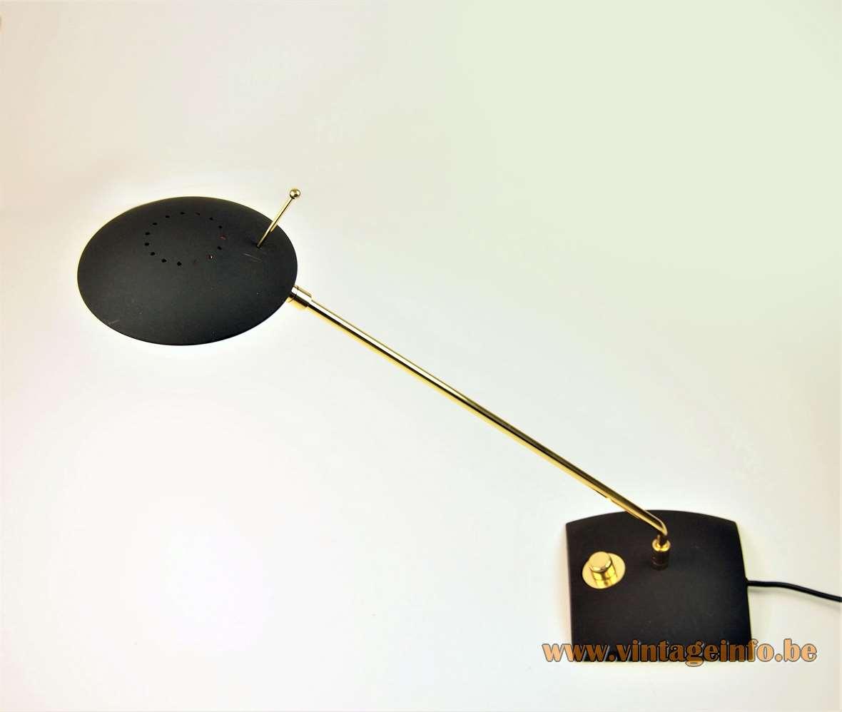 Hillebrand desk lamp 7702 black square base long brass rod disk lampshade halogen R7s bulb 1980s 1990s