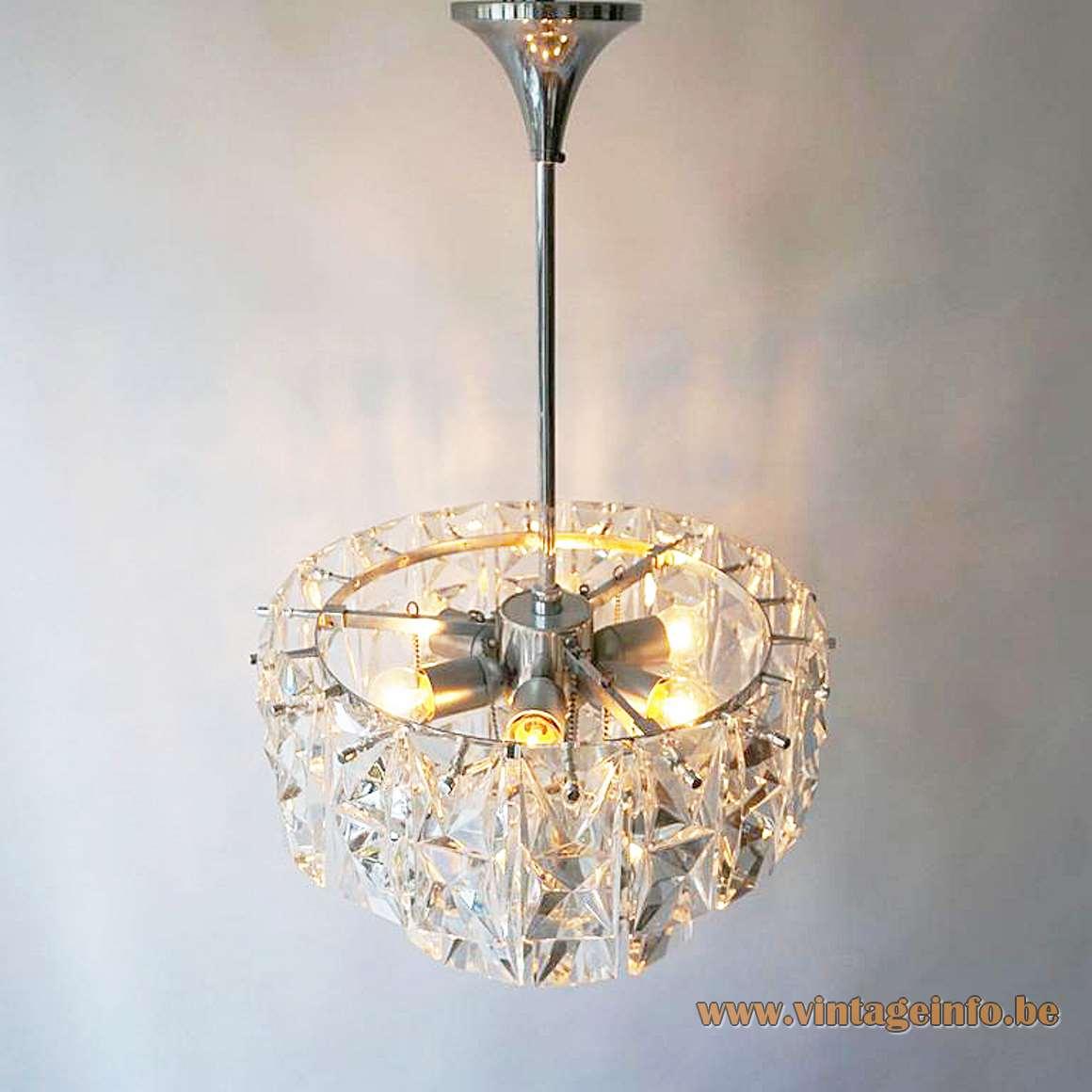Kinkeldey 3 tier crystal prism chandelier multifaceted cut glass chrome frame rods 1960s 1970s Germany