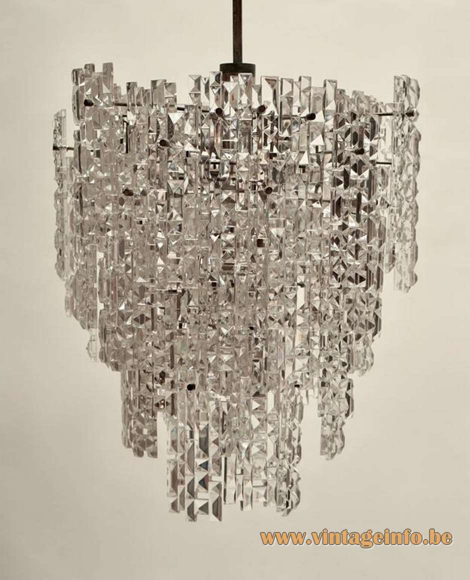 Kinkeldey Asymmetrical Faceted Crystal Glass Chandelier