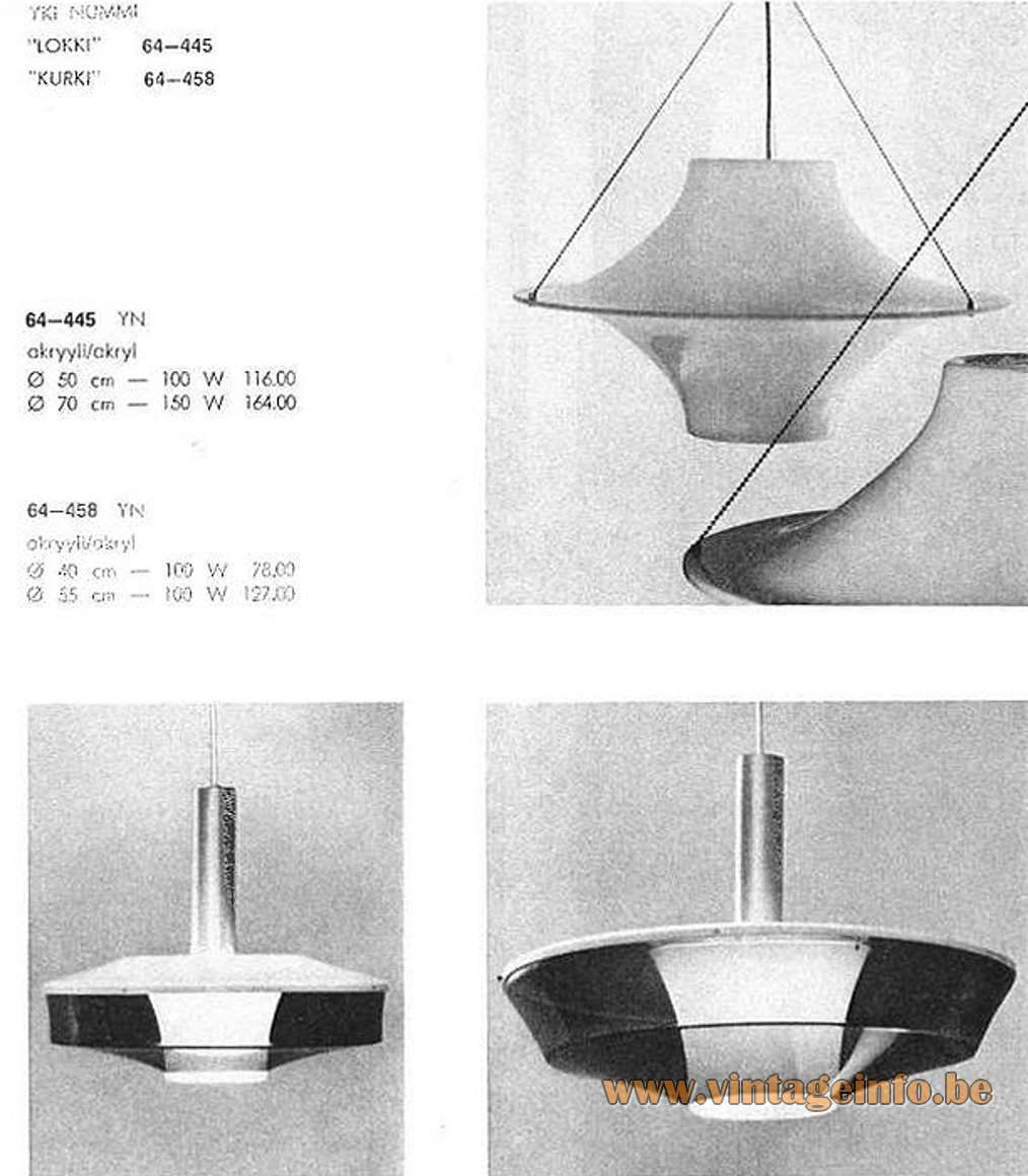 The Lokki pendant lamp in the Stockmann ORNO catalogue of 1964 together with the Kurki pendant lamp.