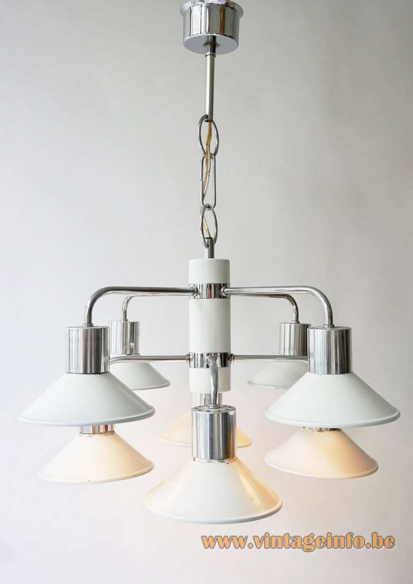 Massive Belgium 8-Arm chandelier white conical lampshades chrome folded rods & chain 8 E27 sockets 1970s
