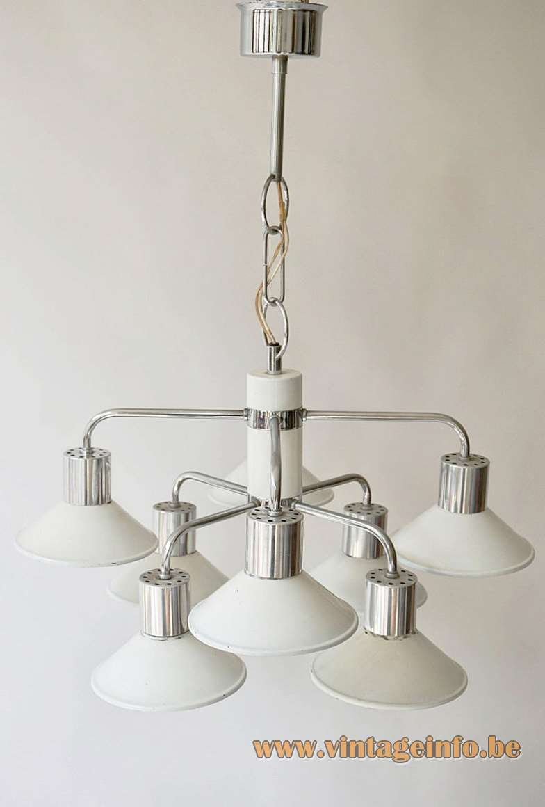 Massive Belgium 8-arm chandelier conical lampshades chrome curved rods 1960s 1970s Mid-Century Modern MCM
