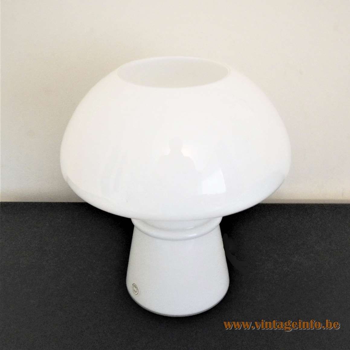 Odreco white glass mushroom table lamp hand blown opal glass E14 lamp socket 1980s 1990s Denmark