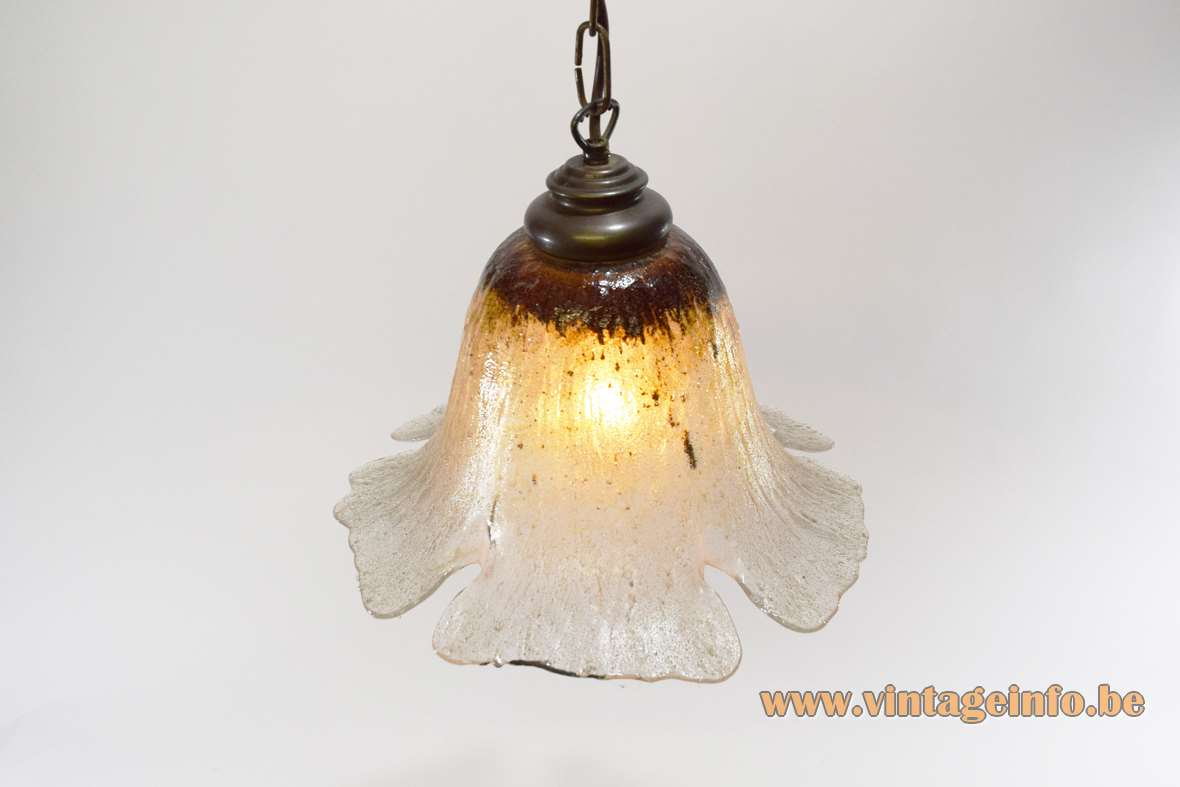 Peill + Putzler daylily pendant lamp brown yellow clear embossed glas flower brass parts and chain 1970s 1980s