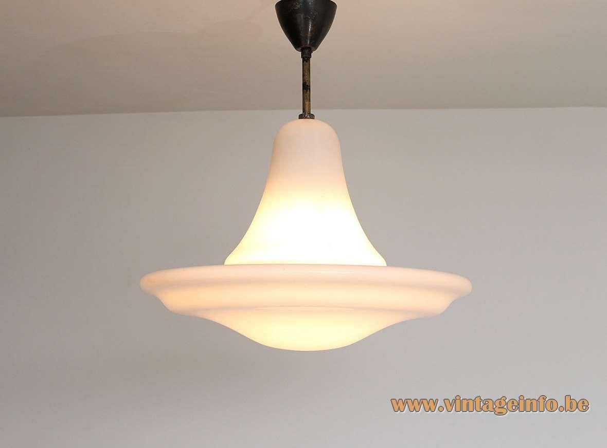 Siemens Neophan pendant lamp design: Peter Behrens white opal glass 1920s 1930s art deco Bauhaus Germany