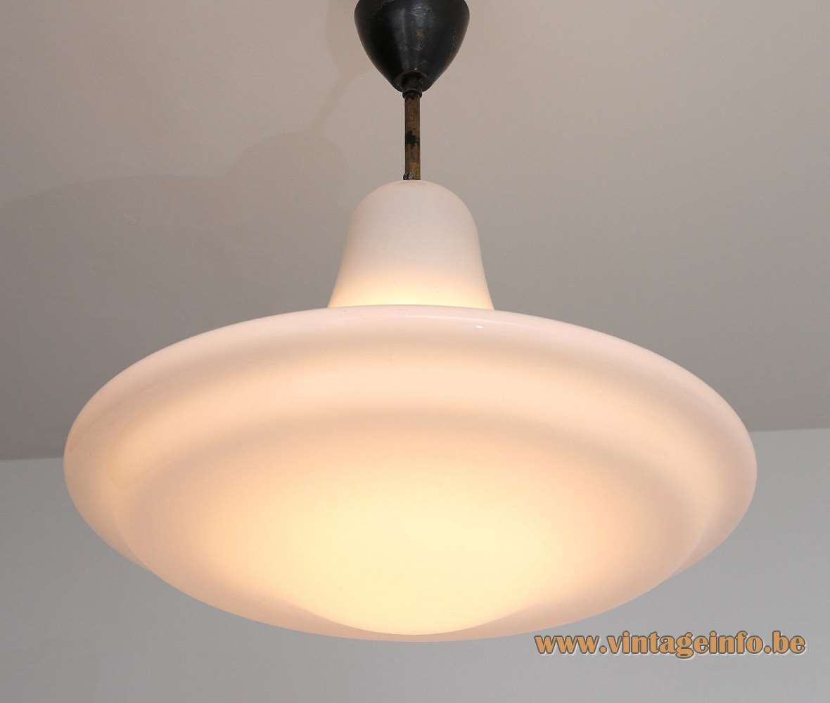 Siemens Neophan pendant lamp design: Peter Behrens white opal glass 1920s 1930s art deco Bauhaus Germany