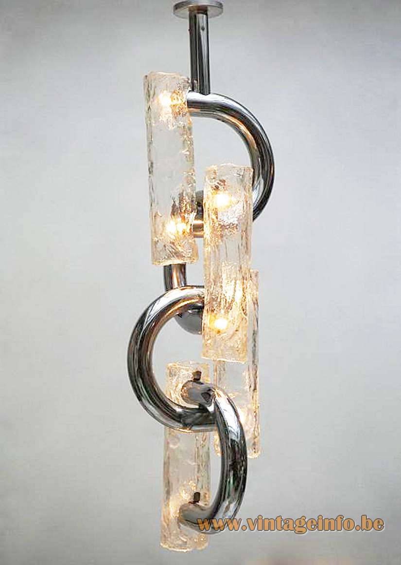 Stilux Milan chain chandelier chrome curved metal rods 4 embossed Murano glass tubes 8 sockets 1970s