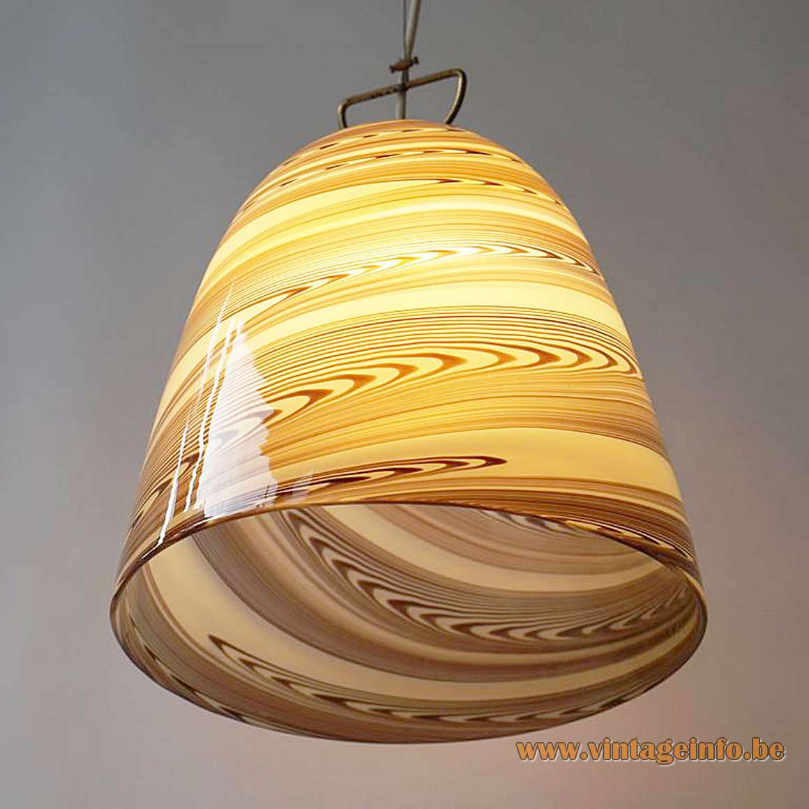Stracciatella Murano bell pendant lamp clock swirl chocolata brown striped Kalmar Franken 1960s 1970s Mid-Century Modern