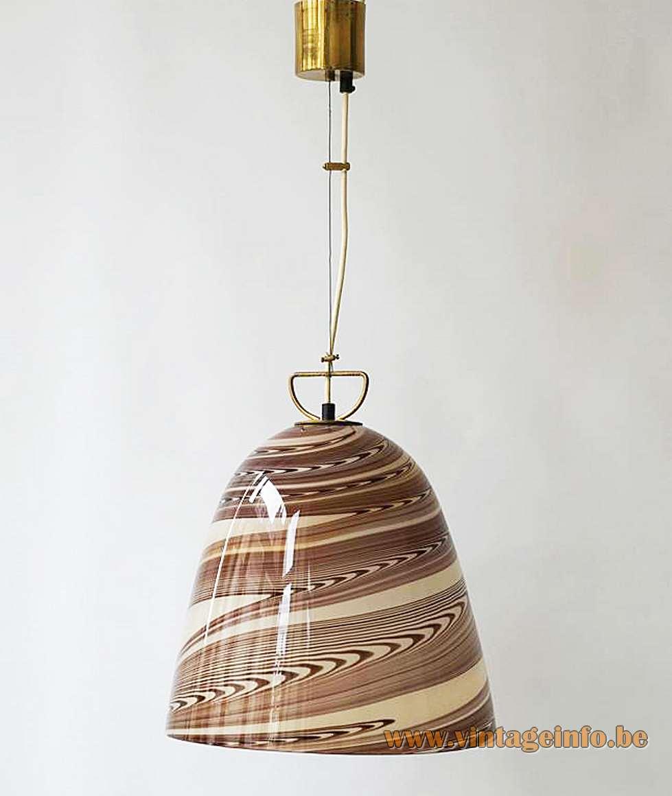 Stracciatella Murano bell pendant lamp chocolate brown swirl striped white glass Kalmar Franken Mazzega 1960s 1970s