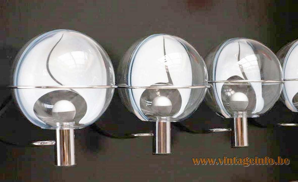 Toni Zuccheri membrane wall lamp Venini Murano glass globe chrome 1960s 1970s Mid-Century Modern MCM
