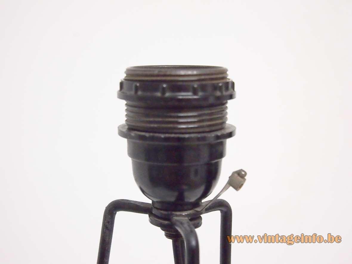 Tripod hairpin rocket floor lamp iron wire frame black 1970s E27 socket