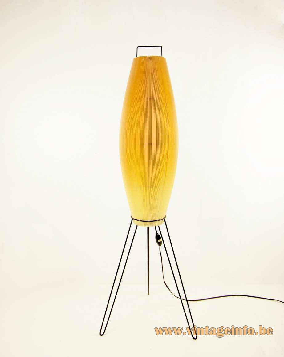 Tripod hairpin rocket floor lamp iron wire frame metal handle pleated cuff plastic tube 1960s 1970s