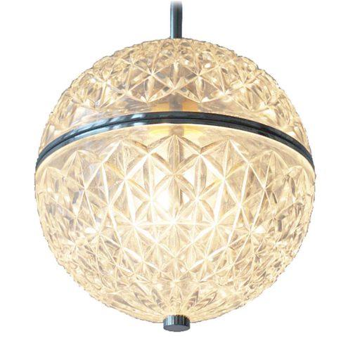 Val Saint Lambert globe pendant lamp crystal faceted glass chrome ring chain VSL Massive Belgium 1960s