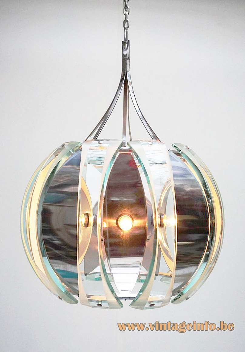 Veca 1960s curved chrome & green curved glass chandelier FontanaArte style 1970s Italy Mid-Century Modern