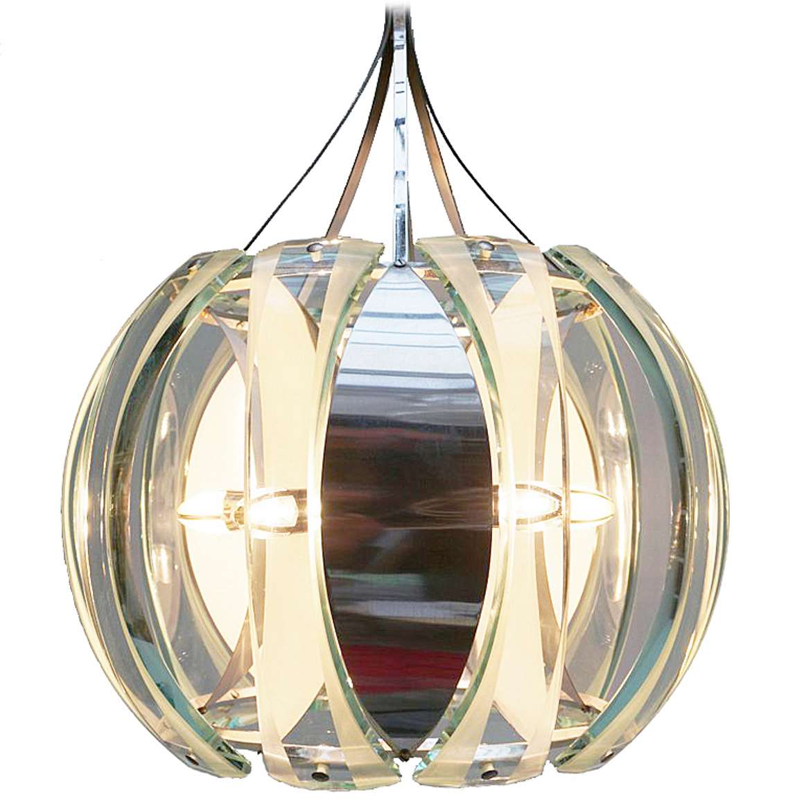Veca 1960s Chrome & Green Glass Chandelier