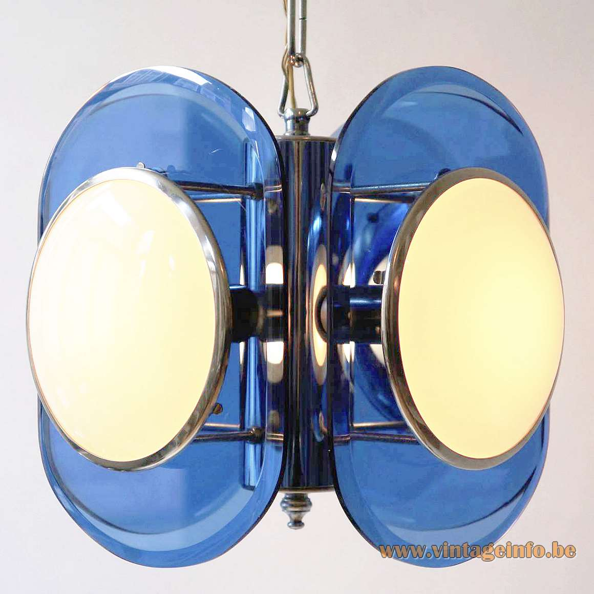 Veca 1960s White & Blue Glass Chandelier