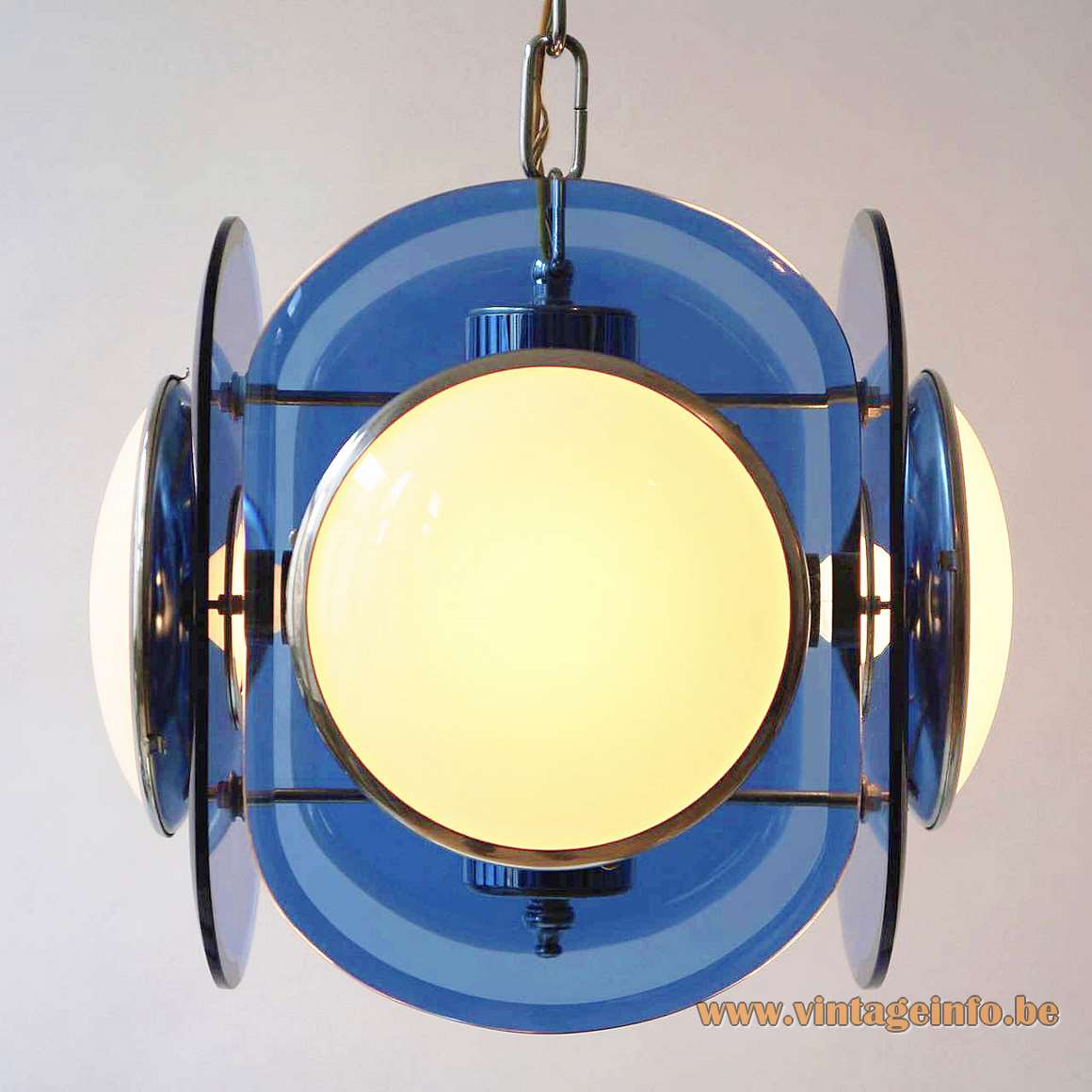 Veca 1960s white & blue glass chandelier chrome frame tubes chain cut glass discs Fontana Arte 1970s
