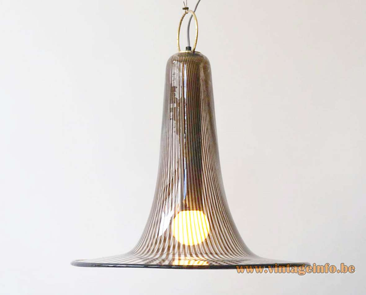 Venini Striped Trumpet Pendant Lamp