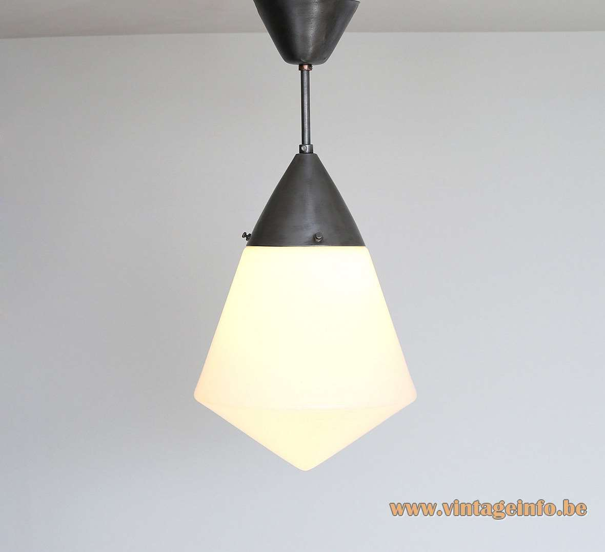 1930s Siemens L123d pendant lamp design: Peter Behrens diamond shaped opal glas Bauhaus art deco Germany