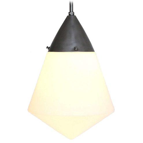 1930s Siemens L123d pendant lamp design: Peter Behrens diamond shaped opal glas Bauhaus art deco Germany