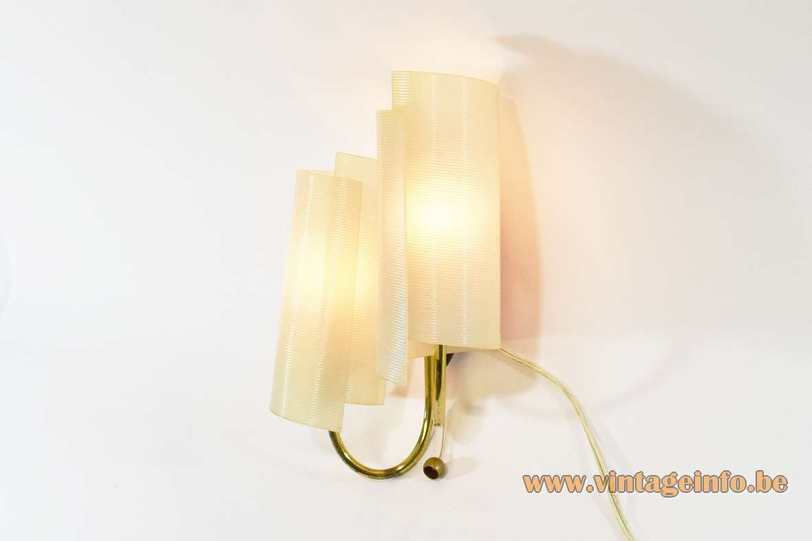 1950s Brass And Acrylic Wall Lamp