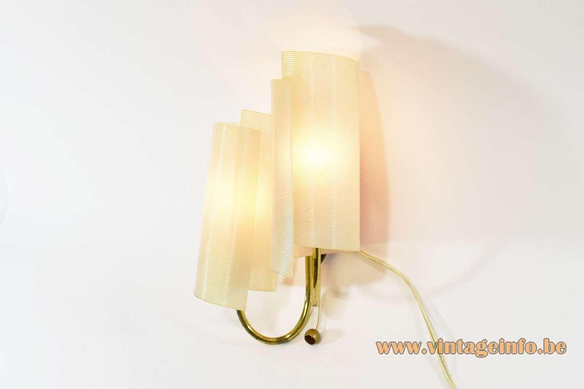 1950s Brass Rotaflex wall lamp design: John & Sylvia Reid swirl wave white plastic ARP 1950s 1960s