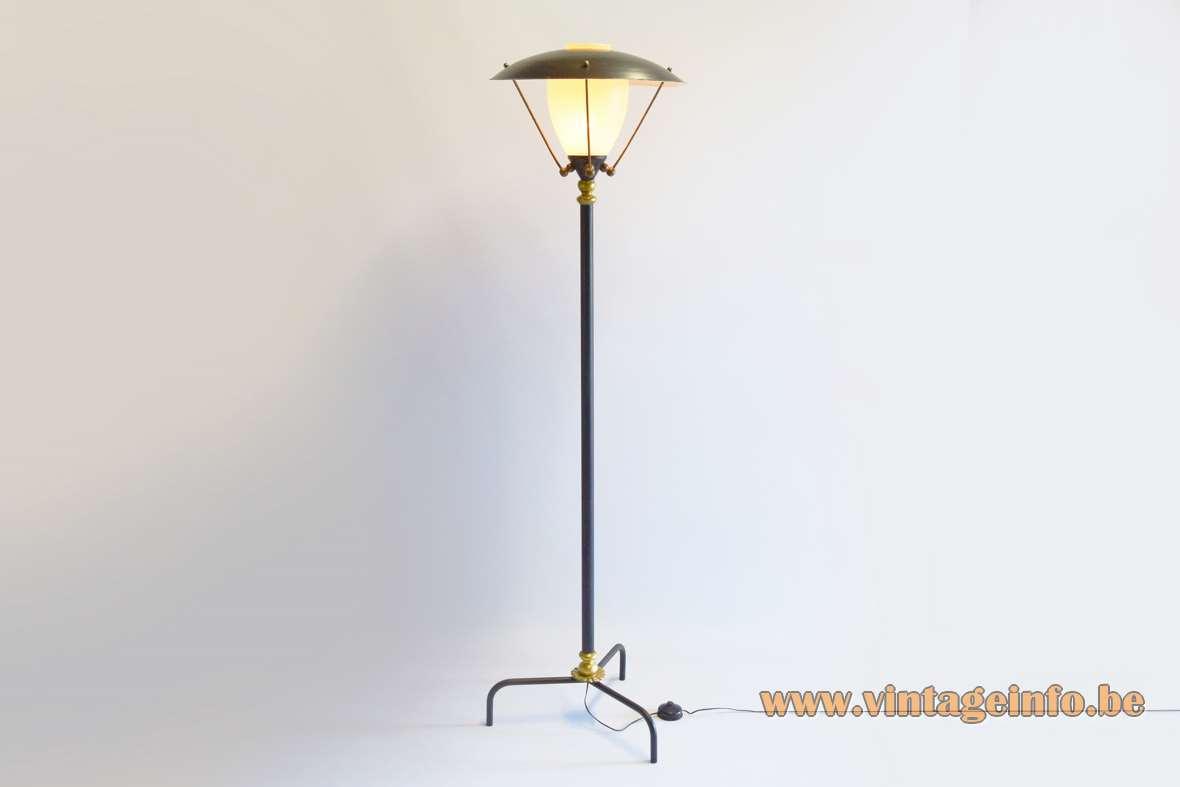 1950s lamp post floor lamp tripod vase iron rod brass decoration striped glass 1960s Mid-Century Modern MCM