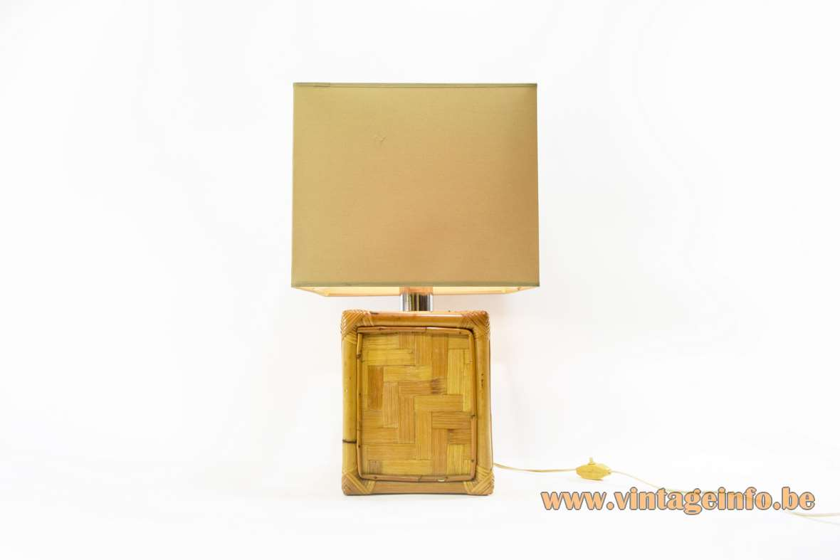 1960s bamboo cube table lamp wicker reed rattan cane box square lampshade 1970s Mid-Century Modern MCM