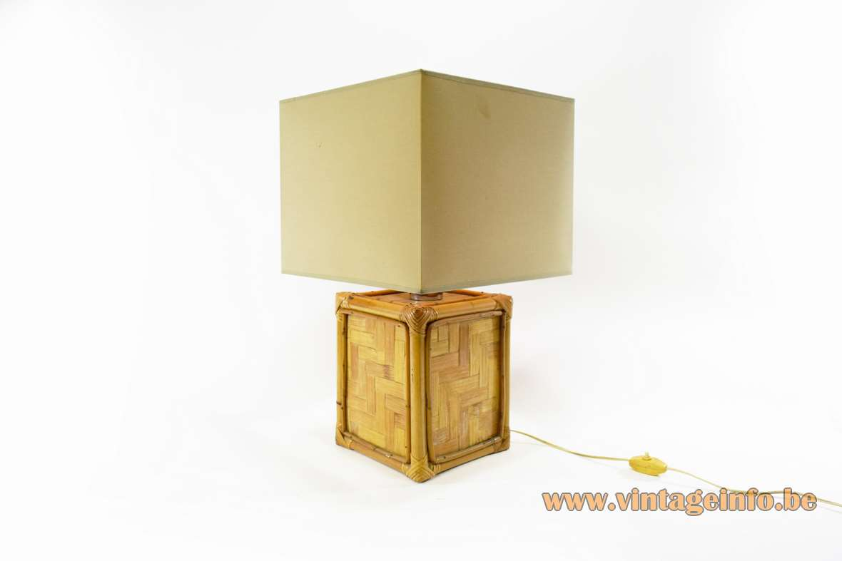 1960s Cube Bamboo Table Lamp